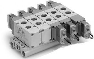 5/2, 5/3 пневмораспределители с электропневматическим управлением VF1000/3000/5000